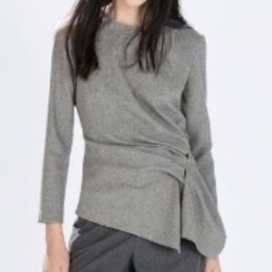 NWOT - ZARA WOMAN Grey Top With Gathered Sides XS